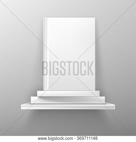 Books On White Bookshelf, Bestseller Mockup With Blank Cover Stand On Shelf In Library Or Store. Boo