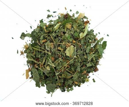 Dry Herbal Tea Isolated On White. Food And Ingredients Background.