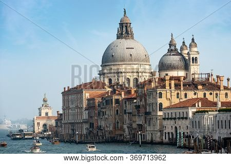 Venice, Canal Grande (grand Canal) And The Basilica Of Santa Maria Della Salute (saint Mary Of Healt