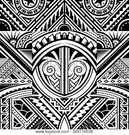 Polynesian Style Tribal Tattoo Fabric Vector Seamless Pattern
