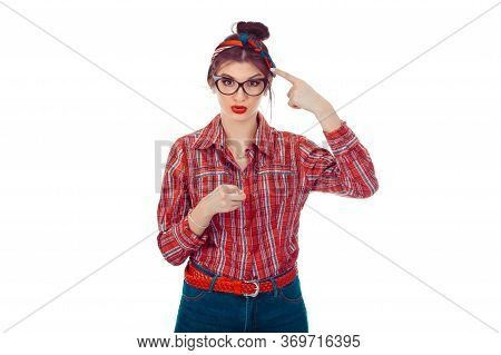 You Are Really Crazy Nuts! Portrait Unhappy Annoyed Young Woman Getting Mad Pointing Finger At You C