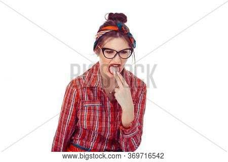 Woman Sticking Her Fingers In Her Throat Showing She Is About To Throw Up, She Is Fed Up And Sick. B