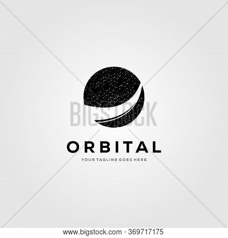 Planet Orbit Logo Meteor Tail Vector Symbol Illustration Design