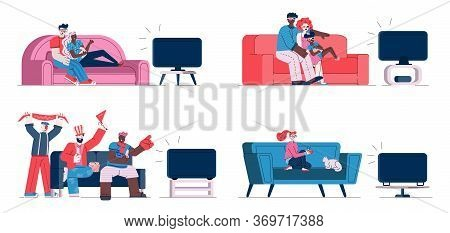 People Watching Tv On Sofa - Isolated Set Of Couples, Sport Fans And Single Girl Sitting On Living R