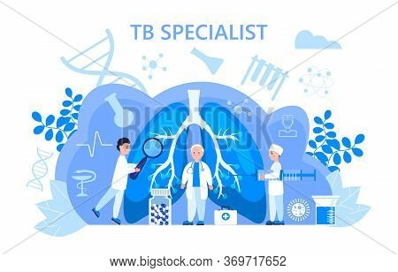 Tuberculosis Specialist Concept Vector. Pulmonary Fibrosis, Tuberculosis, Pneumonia Illustration For