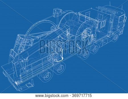 Coiled Tubing Machine Technical Wire-frame. Eps10 Format. Vector Created Of 3d