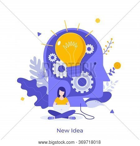 Woman Working On Laptop And Giant Head With Glowing Light Bulb Inside. Concept Of New Idea, Novelty,