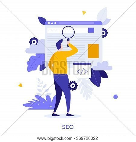 Man Holding Giant Magnifier Or Loupe. Concept Of Seo Or Search Engine Optimization, Optimizing Websi