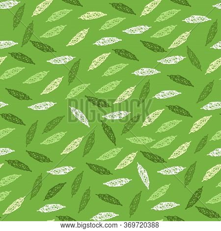 Seamless Pattern With Leaves. Green Tea. Ayurveda