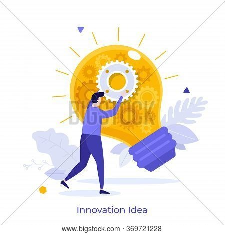 Landing Page Template With Man Holding Key And Climbing Stairs Leading To Door With Keyhole. Concept