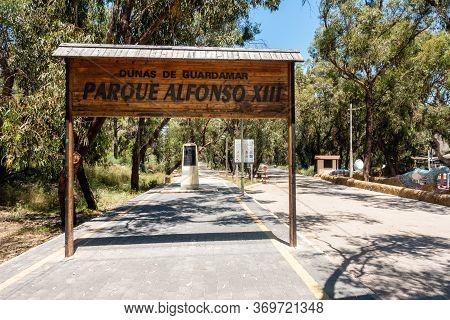 Valenciana, Spain - June 01 2020 : Parque Alfonso 13 Pathways In Guardamar