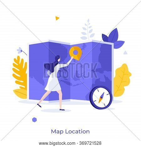 Woman Placing Location Mark Or Pin On World Map. Concept Of Choosing Trip Destination, Location For