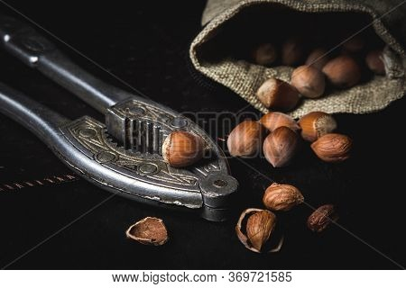 Hazelnuts Lie On A Nutcracker. Nearby Is A Spilled Bag With Hazelnuts. Also Next To It Is A Chopped