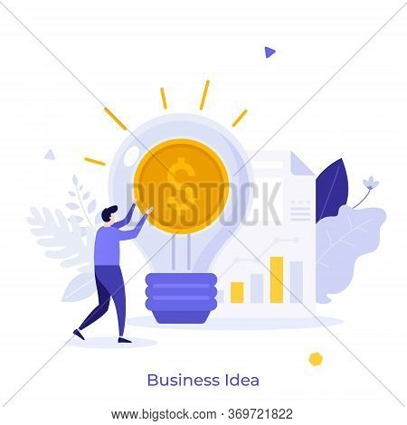Businessman, Glowing Lightbulb With Dollar Coin Inside And Document With Diagram. Concept Of Busines