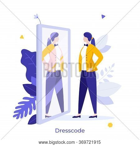 Clerk, Manager Or Businesswoman Looking At Her Reflection In Mirror And Evaluating Her Attire. Conce