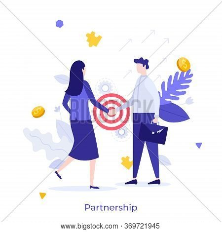 Businessman And Businesswoman Shaking Hands. Concept Of Partnership, Agreement, Deal Making, Busines