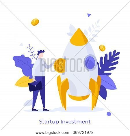 Businessman Or Investor Inserting Dollar Coin Into Spaceship. Concept Of Startup Investment, Venture
