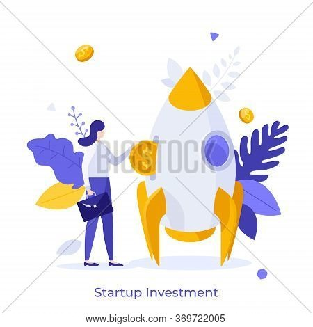 Businesswoman Or Investor Inserting Dollar Coin Into Spaceship. Concept Of Startup Investment, Ventu