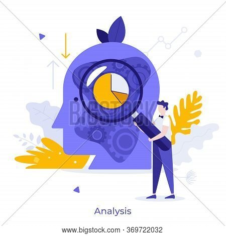 Analyst Holding Magnifier And Analyzing Pie Chart And Mechanism Inside Giant Human Head. Concept Of