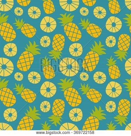 Pineapple Seamless Pattern. Hand Drawn Fresh Slice Of Ananas. Vector Sketch Background. Color Exotic