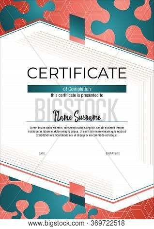 Coral Certificate. Modern Fashion Certificate Template. Elegant Diploma In Vector. Vertical Certific