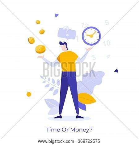 Man Resolving Dilemma, Making Decision Or Choosing Between Two Options Or Alternatives, Clock And Do