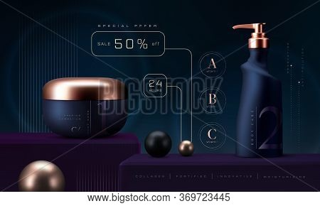 Cosmetic Products Set Background. Vector 3d Premium Cream Jar For Skin Care Products. Luxury Facial