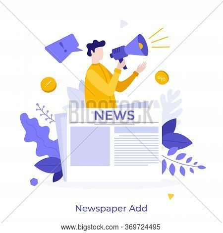 Person With Megaphone Or Bullhorn Promoting Product On Newspaper. Concept Of Commercial, Advertiseme