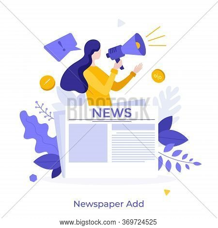 Woman With Megaphone Or Bullhorn Promoting Product On Newspaper. Concept Of Commercial, Advertisemen