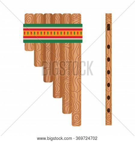Mexican Ethnic Pan Flute Music Instrument In Flat