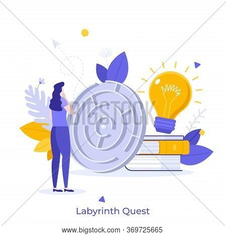 Woman Standing In Front Of Maze, Thinking, Trying To Find Exit And Solve Task. Concept Of Labyrinth