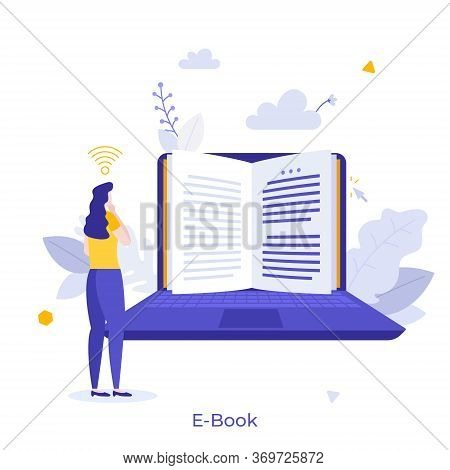 Woman Standing In Front Of Laptop Computer And Reading Digital Book On Screen Or Display. Concept Of