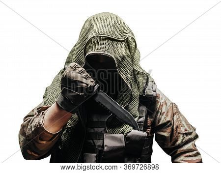 Isolated Photo Of A Fully Equipped Camouflaged Soldier In Tectical Net Scarf With Tactical Vest And