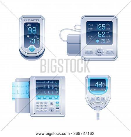 Medical Device Icon Set. Tonometer, Glucometer Blood Glucose Meter, Pulse Oximeter, Ecg Electrocardi