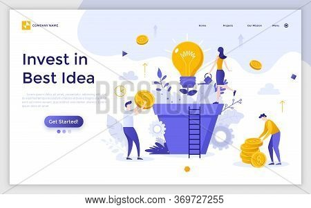 Landing Page With Group Of People, Managers Or Investors Cultivating Light Bulb Growing In Giant Pot