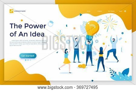 Landing Page With Man Holding Giant Light Bulb, Group Of Rejoicing People And Fireworks. Concept Of