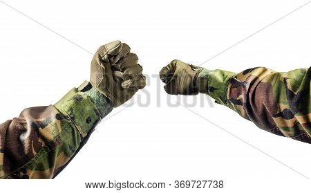Isolated Photo Of A First Person View Soldier Fists In Tactical Gloves And Camouflaged Tunic On Whit