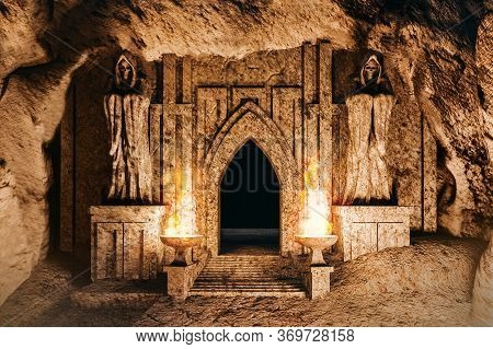 3d render environtment illustration of the temple entrance cave with monk statues and burning torches closeup.