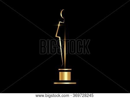 gold trophy icon isolated on black background. Golden Academy award icon. Films and cinema symbol prize concept. Vector Illustration