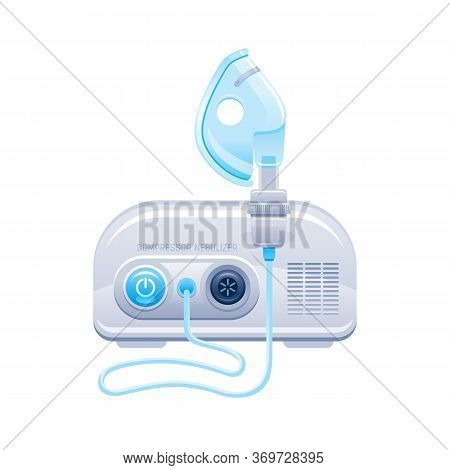 Nebulizer Icon. Medical Machine With Mask And Aerosol Compressor For Oxygen Therapy. Hospital Breath
