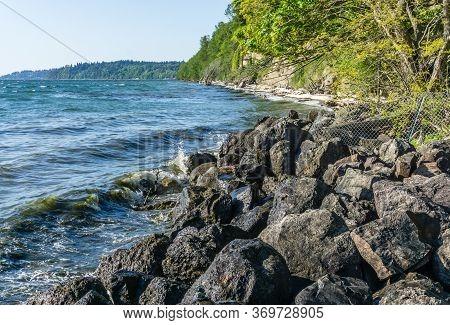 Rocky Shoreline Near Des Moines, Washington. Landscape Image.