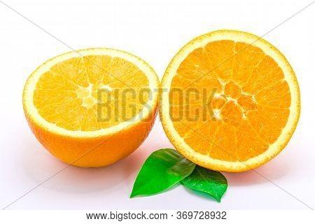 Orange Slice, Isolated On White Background. Close Up