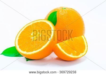 Orange Fruit Isolated On White Background. Close Up