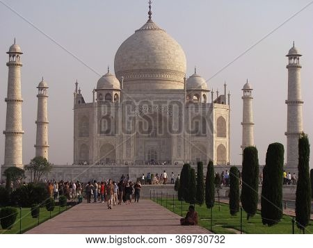 Agra - India June 10th 2012 Iconic Tajmahal Which Is A White Marble Mausoleum Located In The City Of