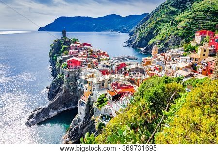 Cinque Terre Region - Vernazza, Seascape In Liguria, Italy, Europe. Traveling Background With Medite