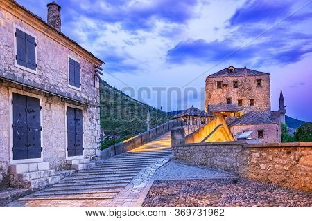 Mostar, Old Town, Bosnia And Herzegovina, Europe. Skyline Of Mostar With The Stari Most Bridge, Hous