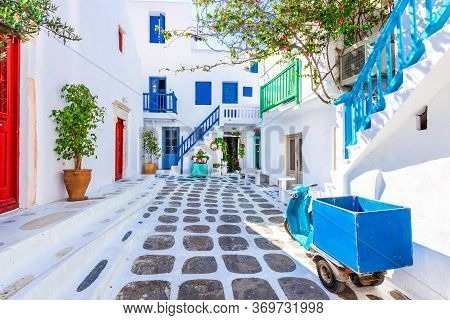 Mykonos, Greece. Wiew Of Whitewashed Cycladic Street In Beautiful Mykonos Town, Cyclades Greek Islan