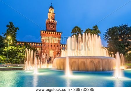 Milan, Italy - Sforza Castle (castello Sforzesco) With Beautiful Fountain At Night, Built By Sforza,