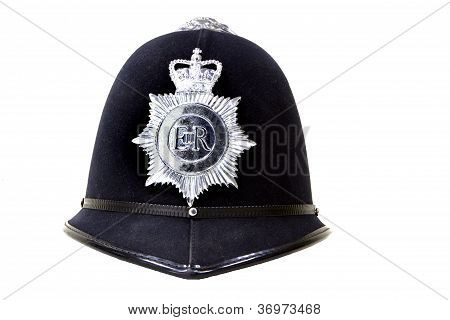 Traditional British Police Helmet Isolated On White