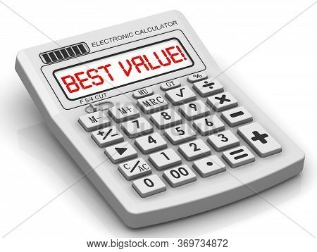 Best Value! Information On The Electronic Calculator. Red Text Best Value! On The Display Of An Elec